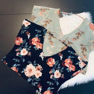 2 Floral v-neck  shirts. Justify. Size med.